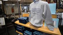 TWU apparel in the book store at Trinity Western University in Langley, B.C. on Nov. 1. (Ben Nelms/The Globe and Mail)