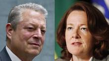 Former U.S. vice-president Al Gore and Alberta Premier Alison Redford could meet – and perhaps spar over the oil sands and climate change – as they both attend the same panel at the World Economic Forum in Davos later this week. (DEBORAH BAIC AND MARK BLINCH/THE GLOBE AND MAIL/THE CANADIAN PRESS)
