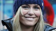 Lindsey Vonn of the U.S. arrives for a news conference in Soelden October 21, 2010. The Alpine Ski World Cup season opens with a women's and a men's Giant Slalom on the Rettenbach glacier in the Tyrolean ski resort of Soelden this weekend. REUTERS/Leonhard Foeger (LEONHARD FOEGER)