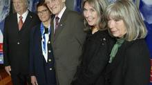 Jean-Louis Roux, third from left, poses with other recipients of the 2004 Governor-General's Performing Arts Awards. pose for photographers after a news conference in Montreal Tuesday, Sept. 21, 2004. They are from the left: Joseph Rouleau, Constance Pathy, recipient of the Ramon Hnatyshyn award for voluntarism, Jean-Louis Roux, Kate and Anna McGarrigle.(CP PHOTO/Ryan Remiorz) (RYAN REMIORZ/CP)