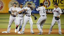 American League players including Robinson Cano of the Seattle Mariners celebrate after defeating the National League the 2017 MLB All-Star Game at Marlins Park. (Kim Klement/USA Today Sports)