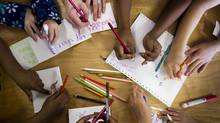 Children draw cards in Vancouver, March 8, 2008. (John Lehmann/The Globe and Mail/John Lehmann/The Globe and Mail)