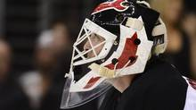 New Jersey Devils goalie Martin Brodeur looks up at the scoreboard after the Los Angeles Kings scored a goal in the second period during Game 6 of the NHL Stanley Cup finals, Monday, June 11, 2012, in Los Angeles. (Mark J. Terrill/AP)
