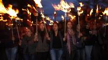 Armenians walk with torches in Yerevan, Armenia, last April in memory of the victims of mass killings by Ottoman Turks. (Tigran Mehrabyan/AP)