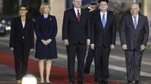 Prime Minister Stephen Harper and his wife, Laureen, stand with Knesset speaker Yuli Edelstein, second from right, during a welcoming ceremony at the Israeli parliament in Jerusalem on Jan. 20, 2014. (BAZ RATNER/REUTERS)