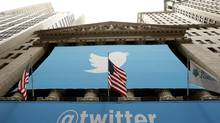 The Twitter logo is seen at the New York Stock Exchange before the company's IPO in New York, November 7, 2013. (LUCAS JACKSON/REUTERS)