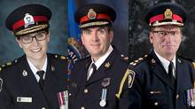 (From left) Barrie Police Chief Kim Greenwood, Hamilton Police Chief Glenn De Caire, Niagara Police Chief Jeffrey McGuire