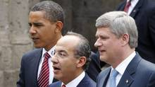 Obama, Calderon, Harper: The amicable spirit of the 'three amigos' hasn't always prevailed. (CHRIS WATTIE/Reuters)