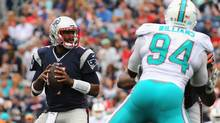 Rookie Patriots QB Jacoby Brissett was forced into action against Miami on Sunday after Jimmy Garoppolo was injured. (Jim Rogash/Getty Images)