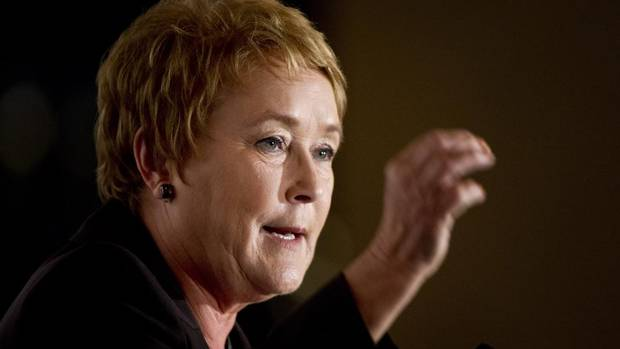 PQ leader Pauline Marois delivers a speech before the Montreal Board of Trade Tuesday, August 28, 2012 in Montreal.