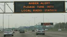 An Amber Alert is seen on highway signs. (Jim Ross for The Globe and Mail)