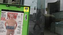 A copy of Now magazine featuring an altered picture of Toronto Mayor Rob Ford in underwear can be seen across City Hall on Queen St., Toronto March 31, 2011. (Fernando Morales/Fernando Morales/The Globe and M)