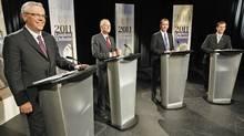 NDP Leader Greg Selinger, left, Liberal Leader Jon Gerrard, PC Leader Hugh McFadyen and Green Party Leader James Beddome of Manitoba prior to a televised debate on Sept. 23, 2011, in Winnipeg. (Trevor Hagan/Trevor Hagan/The Canadian Press)