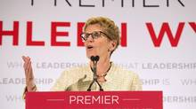 Ontario Premier Kathleen Wynnespeaks during a campaign in Toronto on May 31. (Nathan Denette/Canadian Press)