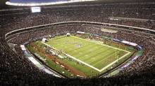 In this Oct. 2, 2005, file photo, Azteca Stadium in Mexico City, Mexico is shown prior to the start of a regular season NFL game between the Arizona Cardinals and San Francisco 49ers. (MARCO UGARTE/AP)