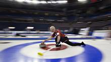 Team Ontario skip Glenn Howard throws a rock during the practice session at the Tim Hortons Brier in Edmonton, Alta., on Friday March 1, 2013. (JASON FRANSON/THE CANADIAN PRESS)