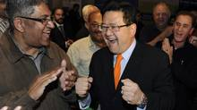 Gary Mar (R) reacts to leading in the first ballots in the leadership race for the PC Party of Alberta in Calgary, September 17, 2011. (REUTERS / Todd Korol/REUTERS / Todd Korol)