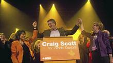NDP's Craig Scott (centre) celebrates his victory in the Toronto-Danforth Federal By-Election with Olivia Chow (left) and Nycole Turmel in Toronto on Monday March 9, 2012. The seat was vacant after the death of former NDP Leader Jack Layton. (Chris Young for The Globe and Mail/Chris Young for The Globe and Mail)