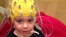 The study used an electroencephalogram (EEG) to directly measure the brain's response to sound, attaching electrodes to children's scalps and recording the patterns of electric activity as nerve cells fired. (AP)