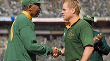 Morgan Freeman and Matt Damon: Invictus uses the game of rugby as a metaphor for political struggle, to show how the brutality of apartheid was channelled onto the playing field. (Keith Bernstein/©2009 Warner Bros. Entertainment Iand Spyglass Entertainment Funding, LLC.)
