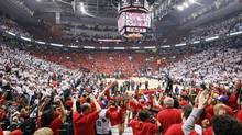 Toronto basketball crowds have become rabid and key players, from left, DeMar DeRozan, Jonas Valanciunas, Terrence Ross, Amir Johnson, Greivis Vasquez, all sort of addressed the issue of whether Kyle Lowry, right will be back at Monday's news conference. He will. (John E. Sokolowski/USA Today Sports)