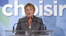 Parti Quebecois Leader Pauline Marois speaks at a news conference Wednesday, August 8, 2012 in Baie St-Paul, Que. (Jacques Boissinot/CP)