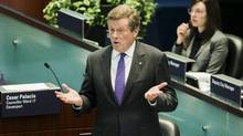 Toronto Mayor John Tory speaks during the debate over new taxi regulations in Toronto last week. (Mark Blinch/Reuters)