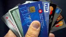 Credit cards are displayed in Montreal in December, 2012. (Ryan Remiorz/The Canadian Press)
