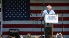 U.S. Sen. Bernie Sanders addresses several hundred people in New Paltz, N.Y., on Sept. 16, 2016. (Tania Barricklo/AP)