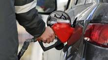 A man pumps gas at a Petro-Canada station in Toronto on Feb. 22, 2011. (MARK BLINCH/REUTERS)