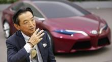 Toyota Motor Corp's Managing Officer Tokuo Fukuichi speaks in front of a clay model of concept vehicle NS4 during an interview with Reuters at the company's design center building in Toyota, central Japan Nov. 28, 2012. (YURIKO NAKAO/REUTERS)