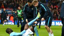 Yaya Toure of Manchester City suffers from cramp during the Capital One Cup Final at Wembley Stadium in February. (Kieran McManus/BPI/REX/Shutterstock)