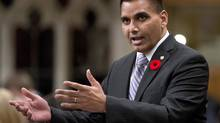 Parm Gill queried three leaders of the Canadian Veterans Advocacy at a review of the New Veterans Charter this week. (ADRIAN WYLD/THE CANADIAN PRESS)