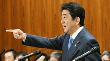 Prime Minister Shinzo Abe warned Thursday that North Korea may be capable of firing a missile loaded with sarin nerve gas toward Japan, as international concern mounted that a missile or nuclear test by the authoritarian state could be imminent. (KYODO/REUTERS)