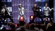 From left, Brian Littrell, Brian Kelley, Nick Carter and Tyler Hubbard perform at the 52nd annual Academy of Country Music Awards on April 2, 2017, in Las Vegas. (Chris Pizzello/Chris Pizzello/Invision/AP)