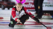 Canada third Amy Nixon wears a pair of bunny ears prior to the start of the bronze-medal game against Russia at the women's world curling championship in Swift Current, Sask. on Sunday. (JONATHAN HAYWARD/THE CANADIAN PRESS)