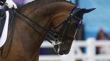 The horse Rafalca is ridden by Jan Ebeling from United States during the equestrian dressage competition, at the 2012 Summer Olympics, Thursday, Aug. 2, 2012, in London. Rafalca is co-owned by Ann Romney, the wife of U.S. Republican presidential candidate Mitt Romney. (Markus Schreiber/AP)