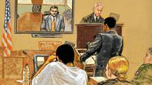 In this photo of a sketch by courtroom artist Janet Hamlin, reviewed by a U.S. Department of Defense official, Washington lawyer Kobie Flowers cross-examines FBI Special Agent Tim Fehmel on Tuesday, May 4, 2010. (Janet Hamlin Sketch)