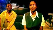 """Thomas Olajide and Jajube Mandiela in """"SIA"""" (Sandra Lefrancois/Cahoots Theatre Company)"""