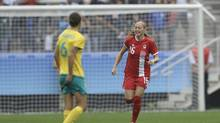 Canada's Janine Beckie, right, celebrates her goal during the 2016 Summer Olympics football match between Canada and Australia at the Arena Corinthians in Sao Paulo, Brazil, Wednesday, Aug. 3, 2016. (Nelson Antoine/AP)