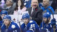 Toronto Maple Leafs head coach Randy Carlyle has a pretty good idea about what's ailing the Toronto Maple Leafs at home. (Nathan Denette/THE CANADIAN PRESS)