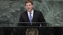 Foreign Minister John Baird addresses the 67th United Nations General Assembly in New York on Oct. 1, 2012. (LUCAS JACKSON/REUTERS)
