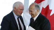 Governor General David Johnston and the Aga Khan take part in the opening for the new home of the Global Centre for Pluralism in Ottawa, Tuesday, May 16,2017. (Fred Chartrand/THE CANADIAN PRESS)