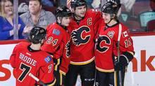 Calgary Flames defenseman Mark Giordano celebrates his goal with teammates (Sergei Belski/USA Today Sports)