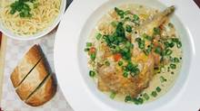 Braised rabbit with garlic spaghetti is served at Cafe Regalade, 2836 West 4th Ave in Vancouver, BC. (Laura Leyshon for the Globe and Mail/Laura Leyshon for the Globe and Mail)