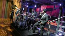 Hip hop band The Roots rehearse at NBC Studios, Thursday, Feb. 19, 2009 in New York. (Charles Sykes / AP)