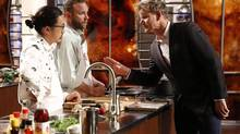 Contestants Dan, Cutter and Chef Gordon Ramsay during the seafood Challenge in an all-new episode of MASTERCHEF airing Monday, June 30 (8:00-9:00 PM ET/PT) on FOX. (Greg Gayne)