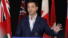 Progressive Conservative Leader Tim Hudak speaks at a party convention in Toronto May 27, 2011. (Fernando Morales/The Globe and Mail)