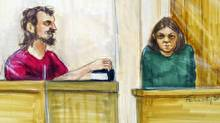 John Nuttall, left, holding a Qur'an, and Amanda Korody, shown in this courtroom sketch, appear in provincial court in Surrey, B.C., on Tuesday, July 9, 2013. (Felicity Don for The Globe and Mail)