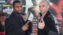 WBC light heavyweight boxers Jean Pascal and Aleksy Kuziemski face off during a news conference prior to their Friday night fight in Montreal on Wednesday, Dec. 12, 2012. (Paul Chiasson/THE CANADIAN PRESS)